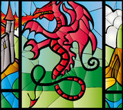 Dragon stained glass. Red dragon depicted in stained glass stock illustration