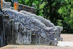 Dragon Stair In Imperial Tomb av Minh Mang, Hue Vietnam UNESCOvärldsarv Royaltyfri Foto