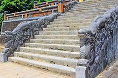 Dragon Stair In Imperial Tomb av Minh Mang, Hue Vietnam UNESCOvärldsarv Arkivfoto