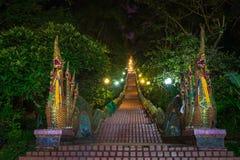 Dragon Stairs zu Wat Phra der doi suthap Tempel, Chiang Mai, Tha Lizenzfreie Stockbilder