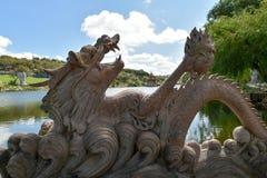 Dragon statua w bacalhÃ'a Buddha Eden, Bombarral, Portugalia Zdjęcie Royalty Free