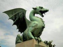 Dragon Statue. A beautiful green dragon statue in Slovenia Stock Image