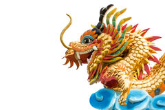 Dragon statue and blank area at left side on background Stock Photos