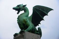 Dragon Statue. The dragon statue at Dragon Bridge_Slovenia Royalty Free Stock Photo
