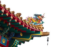 Dragon statue on china temple roof Royalty Free Stock Images