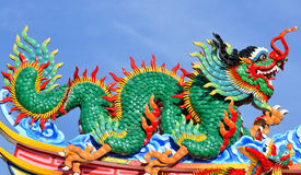 Dragon statue on china temple roof. Thaiand stock image
