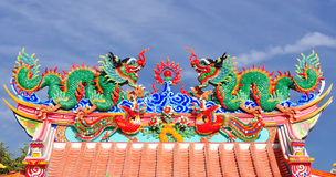 Dragon statue on china temple roof Royalty Free Stock Photography