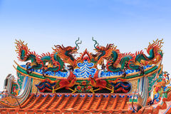 Dragon statue on china temple roof Royalty Free Stock Image