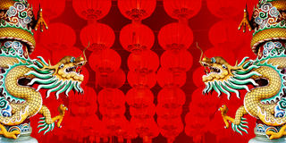 Dragon statue with Chinese Red lanterns Royalty Free Stock Image