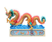 Dragon statue. Chinese style dragon statue on isolated Stock Photos