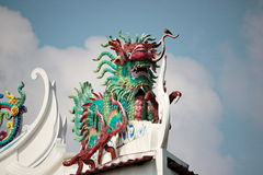 Dragon statue. At chinese temple in Thailand stock photography