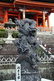 Dragon statue in front of the kiyomizu-dera temple gate. Kyoto, Japan royalty free stock images