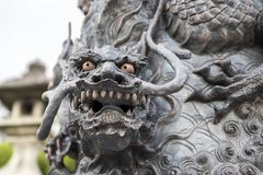 Dragon statue in front of the kiyomizu-dera temple gate, Kyoto. Japan royalty free stock photography