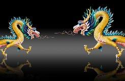 Dragon statue with glaze black background Stock Photo