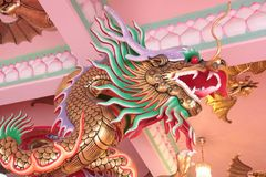 Dragon Statue a Guan Yu Shrine, Chonburi, Tailandia fotografia stock libera da diritti