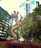 Dragon statue in housing estate Royalty Free Stock Photos