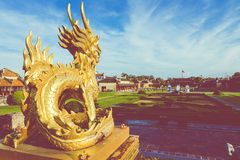 Dragon Statue. Imperial Royal Palace of Nguyen dynasty in Hue, V. Ietnam. Unesco World Heritage Site stock photography