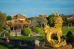 Dragon Statue. Imperial Royal Palace of Nguyen dynasty in Hue, V. Ietnam. Unesco World Heritage Site royalty free stock image