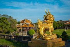 Dragon Statue. Imperial Royal Palace of Nguyen dynasty in Hue, V. Ietnam. Unesco World Heritage Site royalty free stock photos