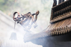 Dragon statue on incense burner Royalty Free Stock Photos