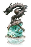 Dragon statue isolated on the white background. Royalty Free Stock Images