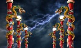 Dragon statue with lightning Storm Stock Photos