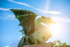 Dragon statue in Ljubljana Royalty Free Stock Photo