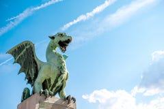 Dragon statue in Ljubljana Stock Photos