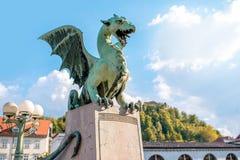 Dragon statue in Ljubljana Stock Image