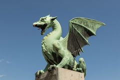 Dragon statue. In Ljubljana, Slovenia stock photos