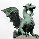 Dragon statue in Ljubljana, Slovenia Royalty Free Stock Images