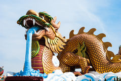 Dragon statue, located in the city centre of Suphanburi to celeb Royalty Free Stock Photos