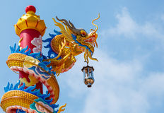 Beautiful  dragon blue sky. Dragon statue and natural blue sky background Stock Images