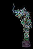 Dragon statue with neon lights Royalty Free Stock Photography
