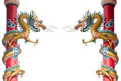 Dragon statue on pillars. By isolate white background Royalty Free Stock Photo