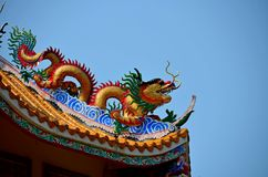 Dragon statue on pole of thai temple in Ang Thong stock photography