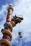 Dragon Statue on the red column Stock Image
