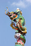 Dragon statue on the roof. stock photo