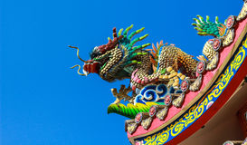 dragon statue on roof of chinese temple with blue sky Royalty Free Stock Photos
