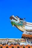 A dragon statue on the roof of a Chinese temple Stock Photography