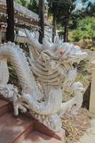 Dragon Statue. Silver Dragon Statue at Chinese Temple in Thailand Stock Photos