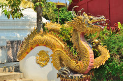 Dragon statue at temple wall Stock Photo
