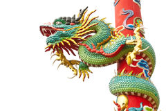 Dragon statue on white background Stock Photos