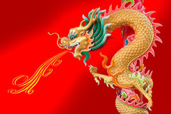 Dragon statue wrap the column Royalty Free Stock Photography