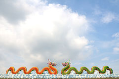 Dragon statues. Outside the temple Wat Saman Rattanaram, Thailand Royalty Free Stock Photo