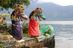 Dragon Statues at Ulun Danu Temple Bali Stock Images