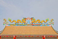 The Dragon status on roof of joss house Stock Photography