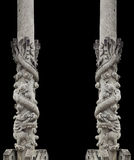 Dragon stone pole. Chinese architecture built into the temples in Thailand Stock Photo