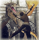 Dragon Strike. Warrior with mythical sword attacking a savage dragon Stock Image