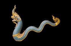Dragon stucco isolate on a black background Royalty Free Stock Image